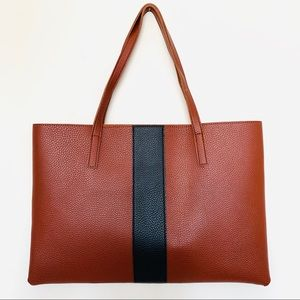 Vince Camuto brown & black luck vegan leather tote